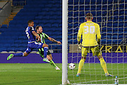 Sean Rigg of AFC Wimbledon  during the Capital One Cup match between Cardiff City and AFC Wimbledon at the Cardiff City Stadium, Cardiff, Wales on 11 August 2015. Photo by Stuart Butcher.