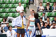 SEPTEMBER 21: Arina Rodionova of Australia and Olga Savchuk of Ukraine give a speech after their victory against Nicole Melichar of USA  and Varatchaya Wongteanchai of Thailand during women's double match day three of the Toray Pan Pacific Open at Ariake Colosseum on September 21, 2016 in Tokyo, Japan 21/09/2016-Tokyo, JAPAN