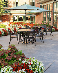 Late summer early morning view on the courtyard of the Wesley Enhanced Living location at Pennypack Park