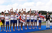 Rotterdam. Netherlands. GBR JM8+,  Charlie Pearson, Oskar Arzt-Jones, Dom Jackson, Oliver Ayres, Patrick Adams , Benedict Aldous, Seb Benzecry, Felix Drinkall and cox Vlad Saigau 2016 JWRC, U23 and Non Olympic Regatta. {WRCH2016}  at the Willem-Alexander Baan.   Sunday 28/08/2016 <br />