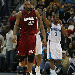 Dec 30, 2009; New Orleans, LA, USA; Miami Heat forward Udonis Haslem (40) reacts after being called for a foul against the New Orleans Hornets during the fourth quarter at the New Orleans Arena. The Hornets defeated the Heat 95-91. Mandatory Credit: Derick E. Hingle-US PRESSWIRE