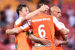 January 18, 2018 - Brisbane, QUEENSLAND, AUSTRALIA - Brett Holman of the Roar (#10, left) celebrates after scoring a goal during the round seventeen Hyundai A-League match between the Brisbane Roar and the Perth Glory at Suncorp Stadium on January 18, 2018 in Brisbane, Australia. (Credit Image: © Albert Perez via ZUMA Wire)