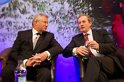 24/05/2013 Richie Boucher, Group Chief Executive, Bank of Ireland is pictured with An Taoiseach, Enda Kenny, T.D. at today's (Friday 24 May) conference organised by the Bank in the Burlington Hotel, Dublin.  The conference was opened by An Taoiseach, Enda Kenny, T.D. and the theme of the event was 'Building Business Momentum'. Attended by approximately 800 SMEs from the Dublin region, it looked at future growth across key sectors in the Irish economy and marked the conclusion of a series of business events nationwide as part of Bank of Ireland's 8th National Enterprise Week..Other speakers at the event included Pat McCann, Chief Executive, Dalata Hotel Group, Eleanor Nash, Group Head of Human Resources, Eason and Son Ltd., Oliver Tattan, CEO, Insurance Regulatory Capital, Professor Peter Cooke, Professor of Automotive Management, The University of Buckingham,  Mark FitzGerald, Chief Executive,  Sherry FitzGerald Group and Kingsley Aikins, Principal, Diaspora Matters. Picture Andres Poveda