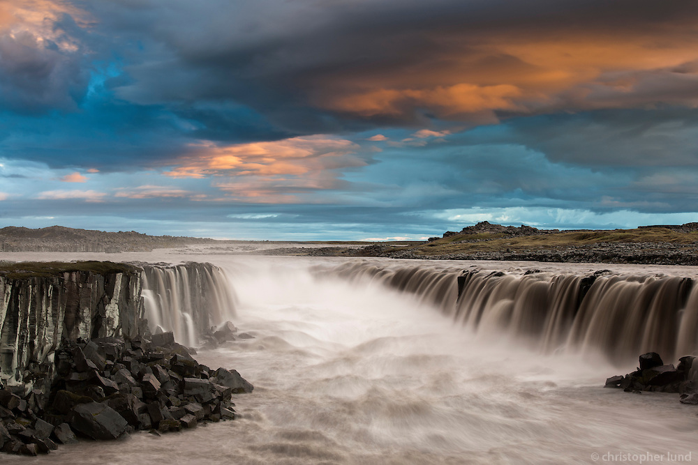 Sunset by Selfoss waterfall. The falls are in the river Jökulsá á Fjöllum in Northeast Iceland.