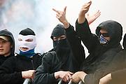 Hamburg hooligans taunt rival fans at the Bundesliga match between Werder Bremen v Hamburger SV, 10th May 2009.<br /> <br /> UK ONLY