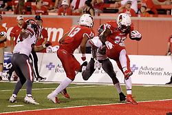 NORMAL, IL - September 01: James Robinson leaps the final yard into the end zone during a college football game between the ISU (Illinois State University) Redbirds and the Saint Xavier Cougars on September 01 2018 at Hancock Stadium in Normal, IL. (Photo by Alan Look)