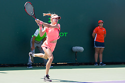 March 20, 2018 - Key Biscayne, FL, U.S. - Key Biscayne, FL - MARCH 20: Eugenie Bouchard (CAN) competes during the qualifying round of the 2018 Miami Open on March 20, 2018, at Tennis Center at Crandon Park in Key Biscayne, FL. (Photo by Aaron Gilbert/Icon Sportswire) (Credit Image: © Aaron Gilbert/Icon SMI via ZUMA Press)