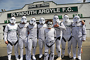 Hartlepool United fans dress as Storm Troopers outside the turnstiles at Home Park for the final game of the regular  league 2 football season at Plymouth Argyle before the Sky Bet League 2 match between Plymouth Argyle and Hartlepool United at Home Park, Plymouth, England on 7 May 2016. Photo by Graham Hunt.