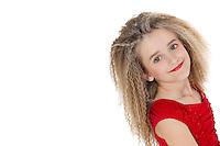 Portrait of happy school girl posing over white background