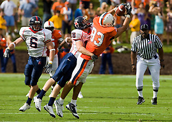 Richmond defensive back Michael Ireland (18) breaks up a pass intended for Virginia tight end Joe Torchia (83).  The Virginia Cavaliers defeated the #3 ranked (NCAA Division 1 Football Championship Subdivision) Richmond Spiders 16-0 in a NCAA football game held at Scott Stadium on the Grounds of the University of Virginia in Charlottesville, VA on September 6, 2008.