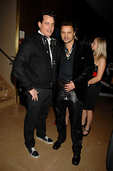 Left to right, MATTHEW MELLON and GERRY DEVEAUX at a party to celebrate the first year if ING's sponsorship of the Renault Formula 1 team, held at the Mayfair Hotel, Stratton Street, London W1 on 28th November 2007.<br />