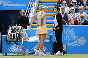 Caroline Wozniacki of Denmark withdrawing through injury during the Semi Final match between Caroline Wozniacki and Belinda Bencic at the Aegon International, Devonshire Park, Eastbourne, United Kingdom on 26 June 2015. Photo by Phil Duncan.