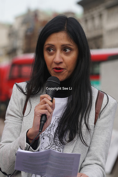 London, UK. 31st October 2017.Speaker Manjinder Virk is an actress rally at the March of the Mummies demonstrations across the UK organised by Pregnant Then Screwed. A team of passionate, driven women have given up their time to ensure the voices of working mums everywhere can be heard.