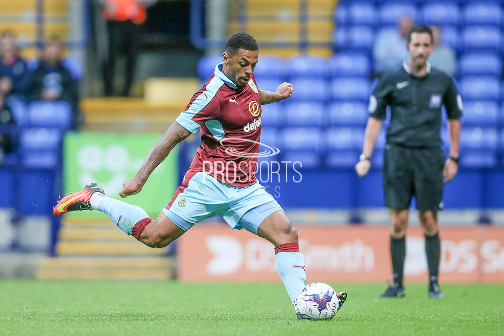 Andre Gray (Burnley) takes the penalty and scores. 1-0 to Burnley during the Pre-Season Friendly match between Bolton Wanderers and Burnley at the Macron Stadium, Bolton, England on 26 July 2016. Photo by Mark P Doherty.