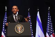 US President Barack Obama during a visit in Israel March 21st 2013 at the National Conference Center of Jerusalem