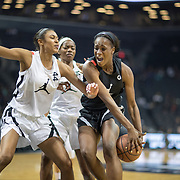NEW YORK, NEW YORK - April 08:  Queen Egbo #5 Travis H.S. Richmond, TX  defended by Olivia Nelson-Ododa #44 Winder-Barrow H.S. Winder, GA during the Jordan Brand Classic, National Girls Teams All-Star basketball game. The Jordan Brand Classic showcases the best male and female high school basketball players who compete in the exhibition games at the The Barclays Center, Brooklyn, New York on April 08, 2018 in New York City. (Photo by Tim Clayton/Corbis via Getty Images)