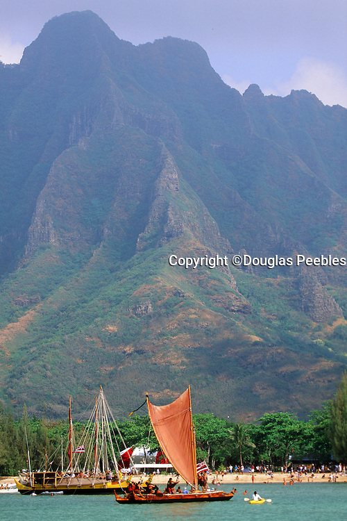 Double hull sailing canoe, Kualoa, Kaneohe Bay, Oahu, Hawaii