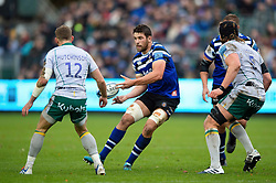 Charlie Ewels of Bath Rugby passes the ball - Mandatory byline: Patrick Khachfe/JMP - 07966 386802 - 09/11/2019 - RUGBY UNION - The Recreation Ground - Bath, England - Bath Rugby v Northampton Saints - Gallagher Premiership
