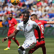 Jozy Altidore, (left), USA, challenges for the ball with Caner Erkin, Turkey,  during the US Men's National Team Vs Turkey friendly match at Red Bull Arena.  The game was part of the USA teams three-game send-off series in preparation for the 2014 FIFA World Cup in Brazil. Red Bull Arena, Harrison, New Jersey. USA. 1st June 2014. Photo Tim Clayton