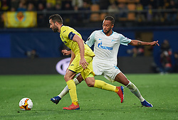 March 14, 2019 - Vila-Real, Castellon, Spain - Mario Gaspar of Villarreal CF and Hernani Azevedo Junior of Zenit Saint Petersburg during the Uefa Europa League round of 16 second leg match between Villarreal and Zenit Saint Petersburg at Estadio de la Ceramica on March 14, 2019 in Vila-real Spain. (Credit Image: © AFP7 via ZUMA Wire)
