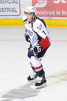 KELOWNA, CANADA, OCTOBER 5: Sam Grist #3 of the Tri City Americans skates on the ice against the Kelowna Rockets on October 5, 2011 at Prospera Place in Kelowna, British Columbia, Canada (Photo by Marissa Baecker/shootthebreeze.ca) *** Local Caption ***Sam Grist;