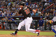 PHOENIX, AZ - SEPTEMBER 17:  Jake Lamb #22 of the Arizona Diamondbacks at bat against the Los Angeles Dodgers at Chase Field on September 17, 2016 in Phoenix, Arizona. The Dodgers won 6 - 2.  (Photo by Jennifer Stewart/Getty Images)