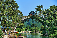 Guangxi, China - September 29 , 2014 : Yulong river between Guilin and Yangshuo in Guangxi province  China