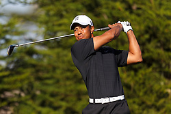 Feb 10, 2012; Pebble Beach CA, USA; Tiger Woods hits is tee shot on the second hole during the second round of the AT&T Pebble Beach Pro-Am at Monterey Peninsula Country Club. Mandatory Credit: Jason O. Watson-US PRESSWIRE