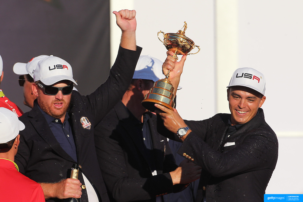 Ryder Cup 2016. Day Three. Rickie Fowler and the United States team celebrate their win after presentations at the Ryder Cup tournament at Hazeltine National Golf Club on October 02, 2016 in Chaska, Minnesota.  (Photo by Tim Clayton/Corbis via Getty Images)
