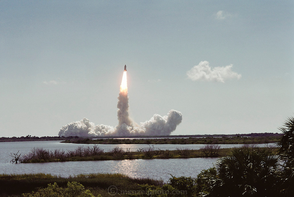 August 1991 Space Shuttle Launch, 11:02 a.m., at Kennedy Space Center from Astronaut Road. Cape Canaveral, Florida.  Flight Number: STS-43 Craft: Atlantis. Flight Duration: 8d 21h. Mission was a TDRS launch.