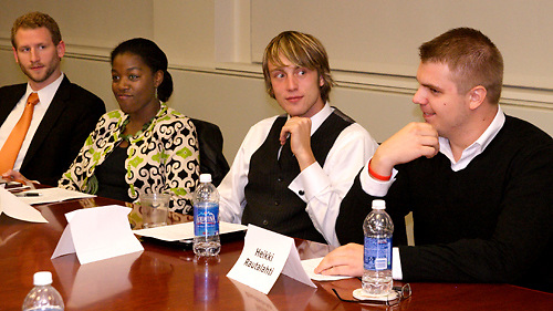 (from left) John Jones, Jamila Caraway, Cody Bratton and Heikki Rautalahti during a roundtable discussion in the editorial boardroom at the Media Center at the Dayton Daily News , Monday, September 19, 2011.