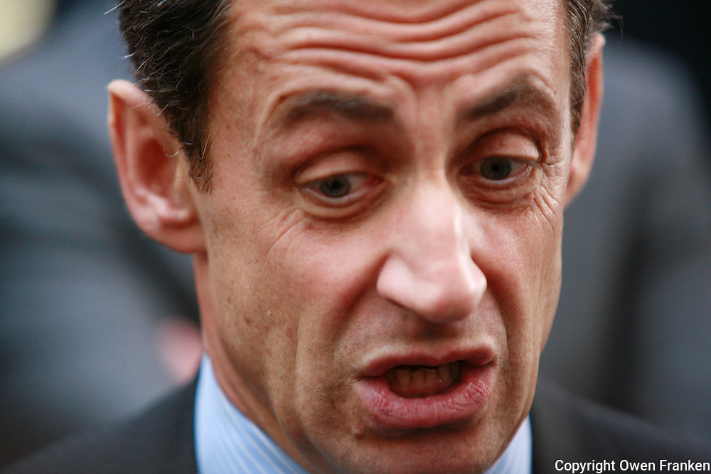 Nicholas Sarkozy, french candidate for  President, after a press conference presenting his program and book, Ensemble, at the Meridien Montparnasse, Paris<br /> <br /> April 2, 2007<br /> <br /> <br /> <br /> photograph by Owen Franken