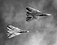 A birds eye view of two F-14 Tomcats on patrol, during operations in the Persian Gulf.