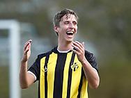 FODBOLD: Alexander Augustesen (Birkerød) griner over frisparkskendelse under kampen i Sjællandsserien mellem FC Lejre og Skjold Birkerød den 22. april 2017 ved Lejre Hallen. Foto: Claus Birch