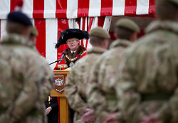 © Licensed to London News Pictures. 04/11/2012. London, UK. The Lord Mayor Of London, David Wootton, is seen talking to Territorial Army soldiers of Vimy Company, the London Regiment, during a parade at Guildhall in London today (04/11/12). The 52 reservists of Vimy Company, who come from all walks of life, paraded at Guildhall to be presented with their Operational Service Medals after returning from operations in Afghanistan.  Photo credit: Matt Cetti-Roberts/LNP