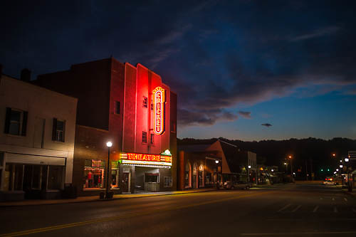 The Cricket Theatre lights up Main Street in downtown Collinsville.
