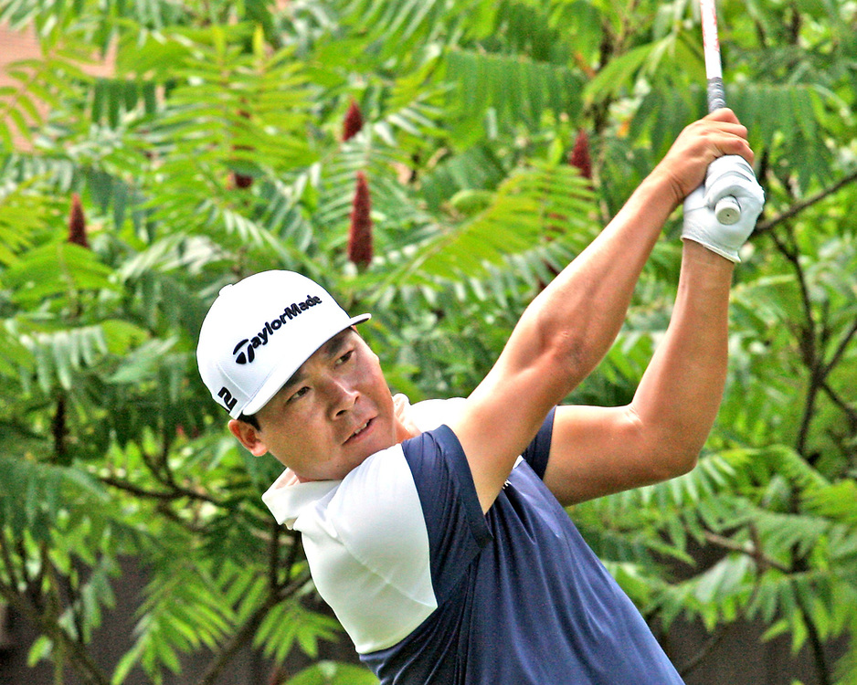 Xinjun Zhang watches his drive off the first tee during the LeCom Health Challenge Web.com PGA Tour at Peek n Peak July 8, 2017 photo by Mark L. Anderson