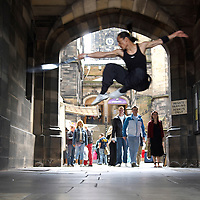 "Artists of the korean show "" Jump ""  performing outside the Edinburgh Assembly Hall,  during the Edinburgh Festival 2006.&#xA;<br />"