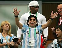 v.l. Ex Frau Claudia Villafane, Diego Maradona, Tochter Giannina Dinora Argentinien<br /> Fussball WM 2006 Argentinien - Serbien Montenegro<br /> Argentina - Serbia Montenegro<br />  Norway only