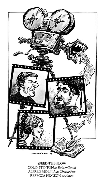 Speed the Plow. Colin Stinton as Bobby Gould, Alfred Molina as Charlie Fox, Rebecca Pidgeon as Karen