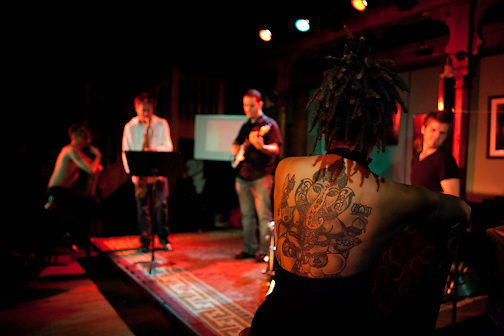 A Night of Tribal Jazz:  http://tribaljazz.blogspot.com/  Check out her tattoo!