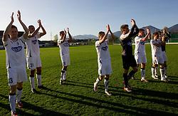 Erik Salkic of Olimpija, Sreten Sretenovic of Olimpija, Sasa Ranic of Olimpija, Davor Skerjanc of Olimpija, Goalkeeper of Olimpija Kristian Lipovac, Dragan Juric of Olimpija and Boban Jovic of Olimpija  celebrate after the football match between NK Triglav Gorenjska and NK Olimpija in 27th Round of Slovenian 1st League PrvaLiga, on April 10, 2011 in Sports park Kranj, Slovenia. (Photo By Vid Ponikvar / Sportida.com)