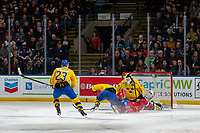 KELOWNA, BC - DECEMBER 18: Evgeny Kanitskiy #11 of Team Russia slides in to the  net of Samuel Ersson #30 of Team Sweden during first period  at Prospera Place on December 18, 2018 in Kelowna, Canada. (Photo by Marissa Baecker/Getty Images)***Local Caption***