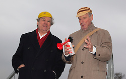 "© Licensed to London News Pictures. 03/03/2012. London, England. L-R: Terry Jones and Michael Palin starting the race. Terry Jones and Michael Palin of Monty Pythons fame today, Saturday 3 March, staged a public ""Hopathon"" to mark the DVD release of Ripping Yarns The Complete Series, and as an homage to the episode entitled Tomkinsons School Days at the Athletics Track in  Hampstead Heath, London. Photo credit: Bettina Strenske/LNP"