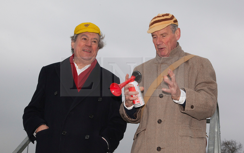 """© Licensed to London News Pictures. 03/03/2012. London, England. L-R: Terry Jones and Michael Palin starting the race. Terry Jones and Michael Palin of Monty Pythons fame today, Saturday 3 March, staged a public """"Hopathon"""" to mark the DVD release of Ripping Yarns The Complete Series, and as an homage to the episode entitled Tomkinsons School Days at the Athletics Track in  Hampstead Heath, London. Photo credit: Bettina Strenske/LNP"""