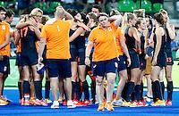 RIO DE JANEIRO -  Teleurstelling bij bondscoach Alyson Annan na de finale tussen de dames van Nederland en  Groot-Brittannie (3-3) in het Olympic Hockey Center tijdens de Olympische Spelen in Rio.  GB wint na shoot outs © KOEN SUYK