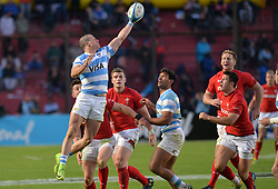 June 16, 2018 - Santa Fe, Argentina - Bautista Delguy from Argentina recives the ball during the International Test Match between Argentina and Wales at the Brigadier Estanislao Lopez Stadium, on June 16, 2018 in Sante Fe, Argentina. (Credit Image: © Javier Escobar/NurPhoto via ZUMA Press)