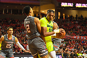 LUBBOCK, TX - DECEMBER 29: Terry Maston #31 of the Baylor Bears is called for charging against Zhaire Smith #2 of the Texas Tech Red Raiders during the game on December 29, 2017 at United Supermarket Arena in Lubbock, Texas. Texas Tech defeated Baylor 77-53. (Photo by John Weast/Getty Images) *** Local Caption *** Terry Maston;Zhaire Smith