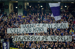 Viole, fans of Maribor during football match between NK Maribor and Sporting Lisbon (POR) in Group G of Group Stage of UEFA Champions League 2014/15, on September 17, 2014 in Stadium Ljudski vrt, Maribor, Slovenia. Photo by Vid Ponikvar  / Sportida.com