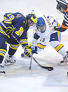 Michigan's Matt Rust (left) wins the opening faceoff from LSSU's Rick Schofiel (right) at the start of the Wolverines Friday night game against the Lakers at Taffy Abel Arena in Sault Ste. Marie.